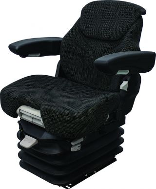 Grammer Seat and Suspension Assembly, Black/Gray Matrix Fabric - Angle View