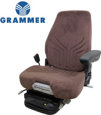 Grammer Seat and Suspension Assembly, Brown for John Deere Combines, Forage Harvesters, Swathers - Angle View