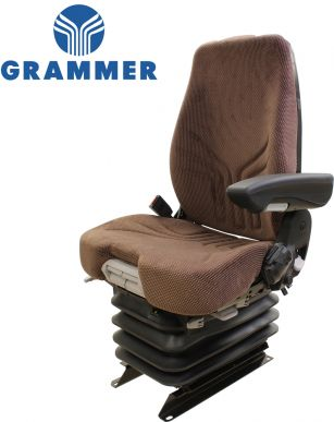 Grammer Seat and Suspension Assembly, Brown for John Deere Combines, Cotton Harvesters, Forage Harvesters, Sugar Cane Harvesters - Angle View