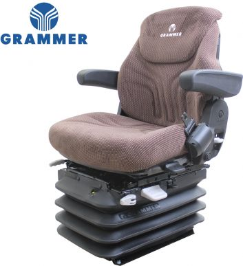 Grammer Seat and Suspension Assembly, Brown Matrix Fabric - Angle View