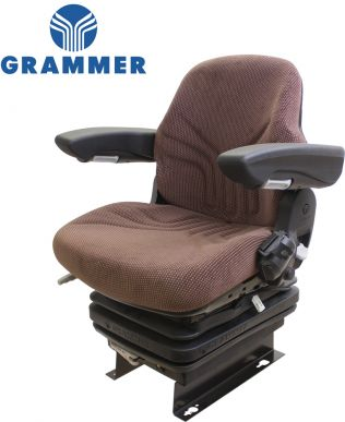 Grammer Seat and Suspension Assembly, Brown Matrix Fabric