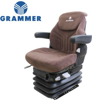 Grammer Seat and Suspension Assembly, Brown Matrix Fabric for John Deere Tractors - Angle View