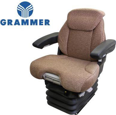 Grammer Seat and Suspension Assembly, Brown Fabric for John Deere Tractors - Angle View