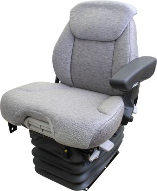Grammer Seat and Suspension Assembly, Gray Fabric for Case IH, Ford New Holland Tractors. Replaces 333658A1, 333658A2, 358202A1, 358202A2, 374353A2, 400184A1, 1987214C2, 84155868, 84162213, 87347885, 87347886, 87395380, 87395381.