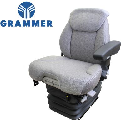 Grammer Seat and Suspension Assembly, Gray Fabric for Case IH, Ford New Holland Tractors - Angle View