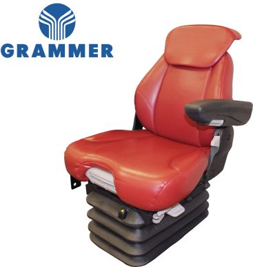 Grammer Seat and Suspension Assembly, Red Leatherette for Case IH Tractors - Angle View