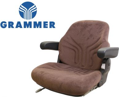 Grammer Seat Assembly, Brown Matrix Fabric for John Deere Tractors - Angle View