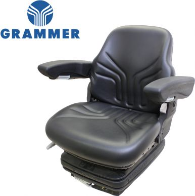 Grammer Seat and Suspension Assembly, Black Vinyl