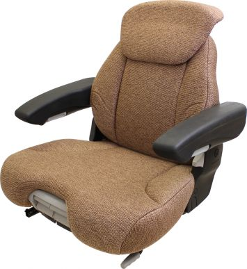 Grammer Seat Assembly, Brown Fabric for John Deere Tractors with Sears Suspension - Side View