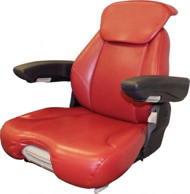 Grammer Seat Assembly, Red Leatherette for Grammer Suspensions - Angle View