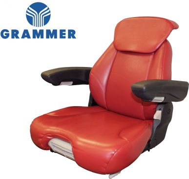 Grammer Seat Assembly, Red Leatherette