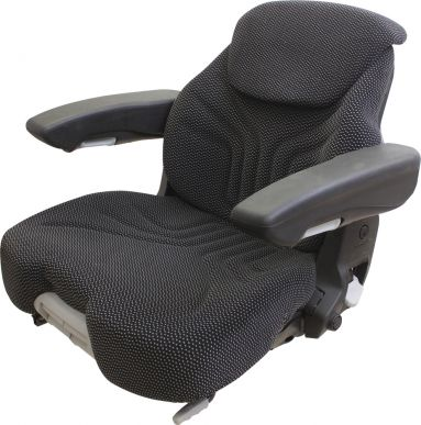 Grammer Seat Assembly, Black/Gray Matrix Fabric for Grammer Suspensions - Angle View
