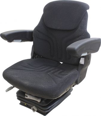 Grammer Seat and Suspension Assembly, Black/Gray Matrix Fabric for most models - Angle View
