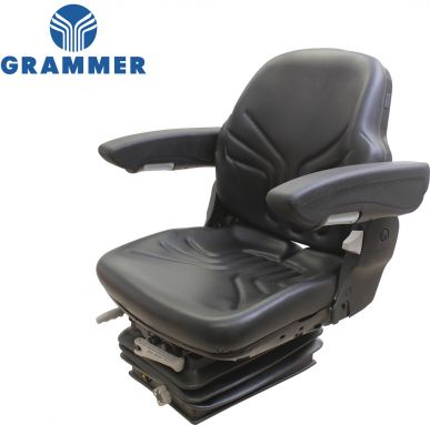 Grammer Seat and Suspension Assembly, Black Vinyl - Angle View