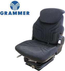 Grammer Seat and Suspension Assembly, Black/Gray Matrix Fabric