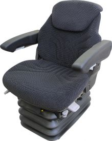 Grammer Seat and Suspension Assembly, Black-Gray Matrix Fabric for Case, Case IH Tractors -  Angle View