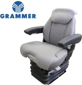 Grammer Seat and Suspension Assembly, Gray Fabric for Challenger, Ford New Holland Tractors - Angle View
