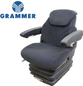 Grammer Seat and Suspension Assembly, Black-Gray Matrix Fabric for Challenger, Ford New Holland Tractors - Angle View