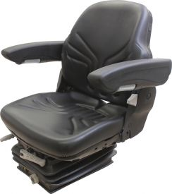 Grammer Seat and Suspension Assembly, Black Vinyl for most models - Angle View