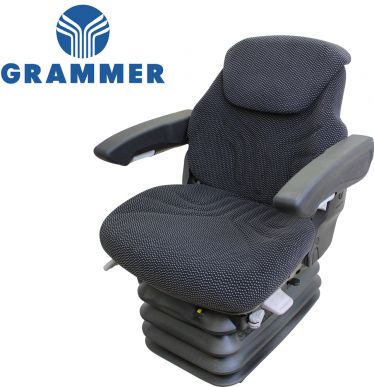 Grammer Seat and Suspension Assembly, Black-Gray Matrix Fabric for Case IH Tractors - Angle View